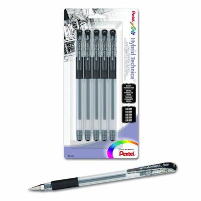 PL0KN10BP5A Pentel Hybrid Technica (0.3/0.4/0.5/0.6/0.8mm) Gel Pen, Black Ink 5-Pk