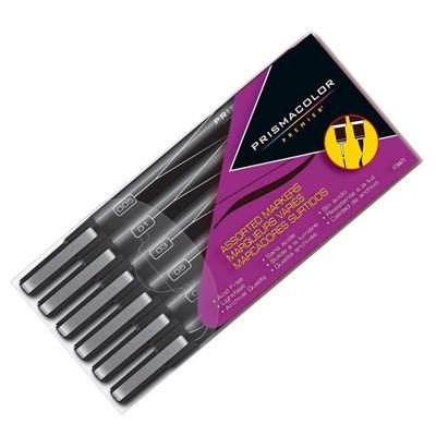 SA1736673  Prismacolor Fineline Marker Black 6pk Mixed Sizes