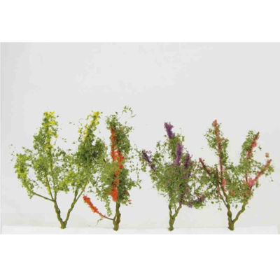 WE00302 WEESCAPES Flower Trees 1-1/2'' to 2'' Red-Pink-Yellow-Purple 8pk