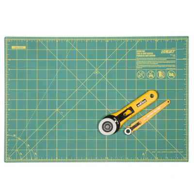 "OLRTY-2/RE 	 Olfa Rotary Essential Kit - 45mm Rotary Cutter, 18mm Rotary Cutter and 12"" x 18"" Rotary Mat"